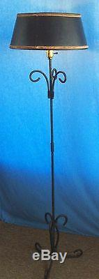 Antique Vintage Wrought Iron Floor Lamp Light with Black Shade with Gold Trim