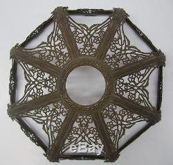Antique Vtg Art Nouveau Cast Metal Floral Light Lamp Shade Frame Slag Glass