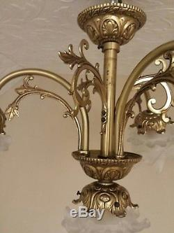 Antique Vtg French Art Nouveau Chandelier Bronze Brass 4-light Lamp Petal Shades