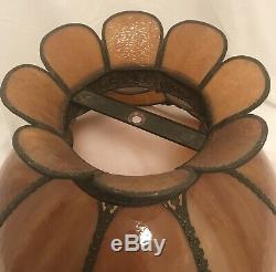 Antique Vtg Tiffany Style Stained Glass Lamp Shade Leaded Slag Arts Crafts Amber