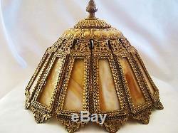 Antique Vtg Victorian Slag Glass Golden Brass Table Lamp