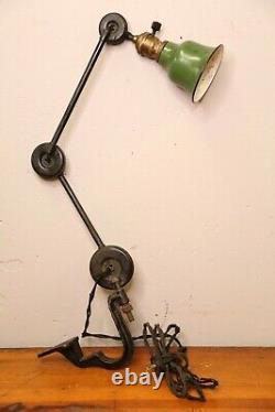 Antique drafting light lamp articulating arm green shade oc white faries edon