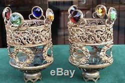Antique jeweled fairy Lamp Candle Shades filigree Vintage Ornate