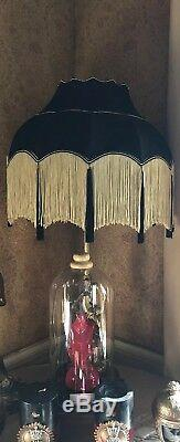 Antique style Vintage Victorian Traditional Downton Abbey black silk lampshade