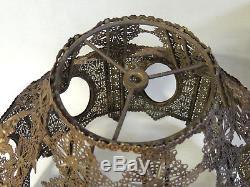 Antique vtg Victorian Art Deco Brass FILIGREE Lamp SHADE for Fabric/Cloth/Glass