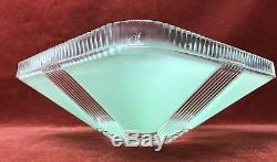 Art Deco Jadeite Green Glass Square Ceiling Light Lamp Lampshade Fixture Vintage