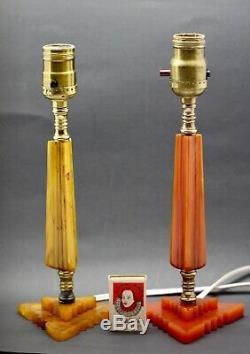 Art Deco Lamp BAKELITE Geometric 1930s Pumpkin Catalin with Shade Working Vintage