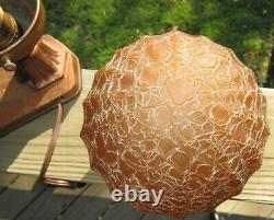 Art Deco No. 183 Lady Figural Lamp With Vtg. Amber Crackle Shade