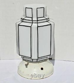 Art Deco Skyscraper Lamp Shade Ceiling Mount Light Fixture Vintage Milk Glass
