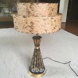 Atomic 1950s ceramic lamp vintage fiberglass shade mid century retro iconic