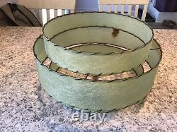 Authentic Mid Century Modern Vintage 3 Tier Green Fiberglass Lamp Shade READ
