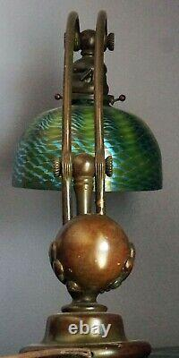 Authentic Tiffany Studios Counterbalance Desk Lamp #417 with 7 Favrile Shade