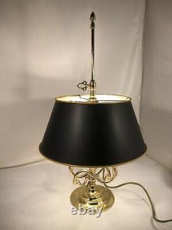 Baldwin Lighting Double Arm Vintage Brass Trumpet Lamp W Adjustable Black Shade