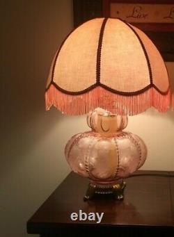 Beaded Floral Victorian Pink Table Lamp & Shade -Vintage Mid 20th Century 3 Way