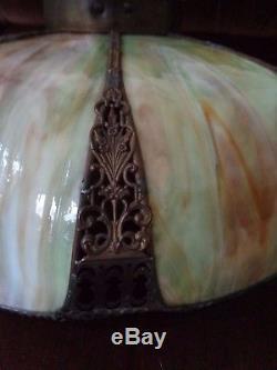 Beautiful Large Vintage 8 Panel Ornate Slag Glass Hanging Lamp Shade