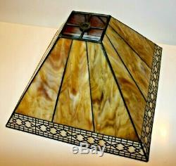 Beautiful Vintage Arts & Crafts Nouveau Deco Slag Glass Lampshade