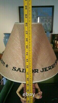 Big Vintage Sailor Jerry Spiced Rum Hula Girl w Ukelali Table Lamp & Shade