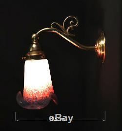 Brass vintage antique wall light sconce handmade French cased glass lamp shade