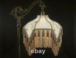 Bridge Floor Lamp Shade Victorian Fringed Beige/Champagne Tailor Made Lampshades