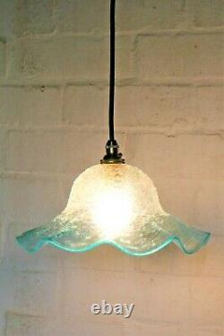 Ceiling Light A Vintage French Crackle Glass Lampshade Pale Blue Antique Style