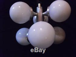 Chrome Mid Century Modern vintage space age chandelier pendant 6 lamps. Original