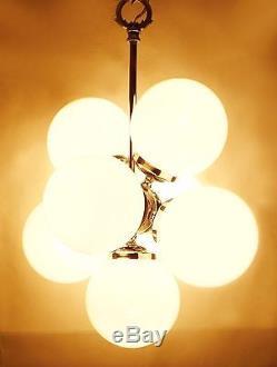 Chrome Mid Century vintage space age chandelier pendant 7 lamps. Original 60 s