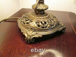 Classical French Antique Bouillotte Table Lamp With Original Tole Shade