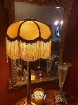 Connie, Victorian Downton Vintage Glass Beaded Lampshade. Yellow Gold Damask 14