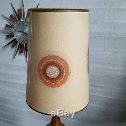 Cool teak Danish Lamp Base Mid Century Retro wooden vintage original Lampshade