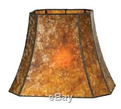 Cut Corner Rectangle Mica Lamp Shade Antique Amber Vintage Style 16 X 10 X 12