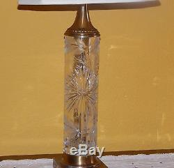 Dresden Vintage Crystal Cut And Brass Set Of 2 Lamps