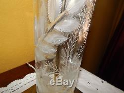 DRESDEN VINTAGE CRYSTAL CUT AND BRASS SET OF 2 LAMPS SIGNED WITH SHADES
