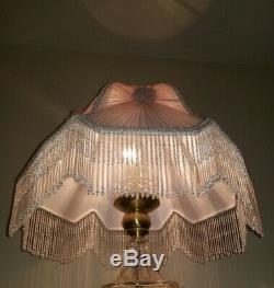 Dale Tiffany VTG Pink Chiffon Rose Victorian Lamp Shade Beaded Fringe Near Mint