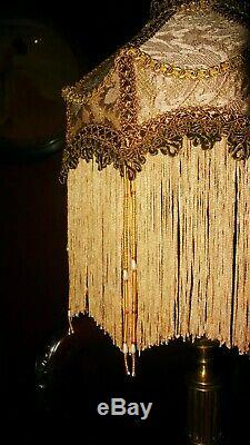 Duchess. Victorian Deco Beaded Lampshade. Exquisite Gold Chenille Brocade 10