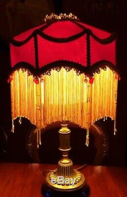 Duchess. Victorian Downton Abbey Beaded Lampshade. Ruby Red Pure Silk Damask. 14