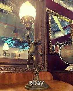 Early 20th Century Brass Cherub Lamp With Glass Flame Shade Titanic Era