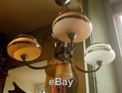 FRENCH Vintage Ceiling Chandelier 5 Lamp Shade Light Art Deco Glass Chrome Wood