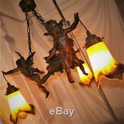 Fabulous Vintage French Art Nouveau Three Lamp Cherub Ceiling Light