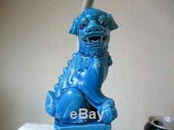 Fantastic Pair Of Vintage Chinese Blue Porcelain Dragon Table Lamps + Shades