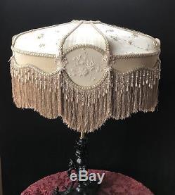 Fantastic Victorian Lampshade Vintage Shade / Fabric Fringed Shade