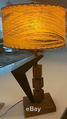 Fantastic Vintage 50s Boomerang Cubes Lamp Fiberglass Shade Mid Century Modern