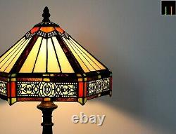 Free Postage JT Tiffany Stained Glass Six-Sided Shade Vintage Bedside Table Lamp