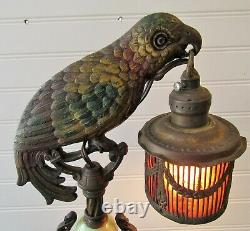 GOTTA L@@K Antique Art Nouveau Cast Metal Parrot Table Lamp With Bird Cage Shade