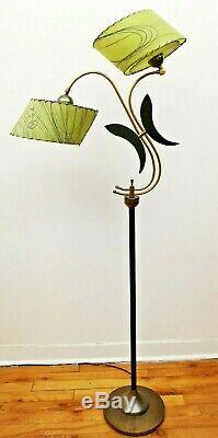 GREAT Vtg 50s Retro ATOMIC Mcm Majestic/Guggenheim Floor LAMP Fiberglass SHADES