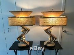 HUGE Unique Vintage MCM Table Lamps(2) 50's, MINT condition Original shades WOW