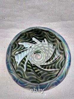 Hand blown Bohemia Iridescent Glass Lamp Shade Art Nouveau Antique glass
