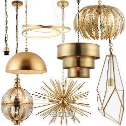 Hanging Ceiling Pendant Lights -Antique Brass & Gold Effect- Modern Indoor Lamps