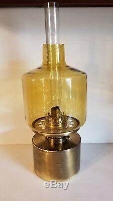 Hans Agne Jakobsson L/47 Oil Lamp Brass Amber Glass Shade Mid Century Modern VTG