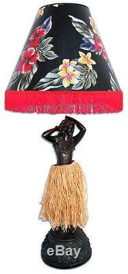 Hawaiian Handcrafted Hula Girl 37 Lamp Vintage Bronze Floral Shade Hawaii SALE