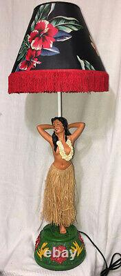 Hawaiian Vintage Style Hula Girl Lamp Floral Shade Red Fringe Handcrafted NIB